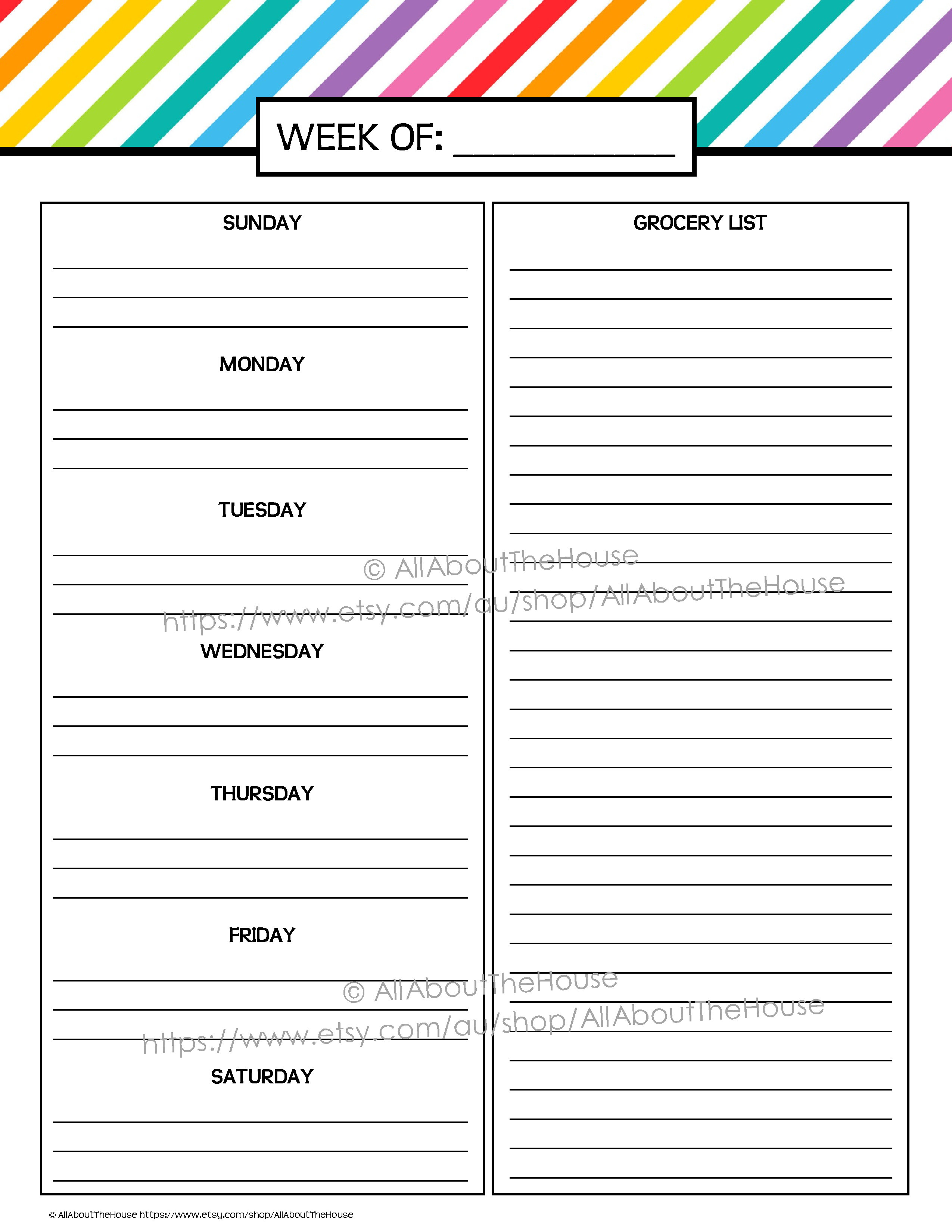 My Printable Rainbow Daily Planner