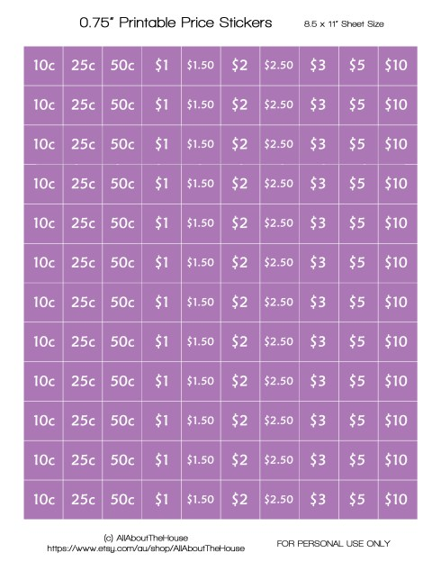 Printable Price Stickers - Purple - AATH