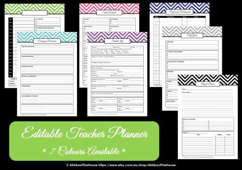 teacher planner colour choice options