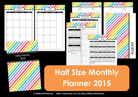 half size monthly calendar printable rainbow stripe preppy 8.5 x 5.5 simplified planer