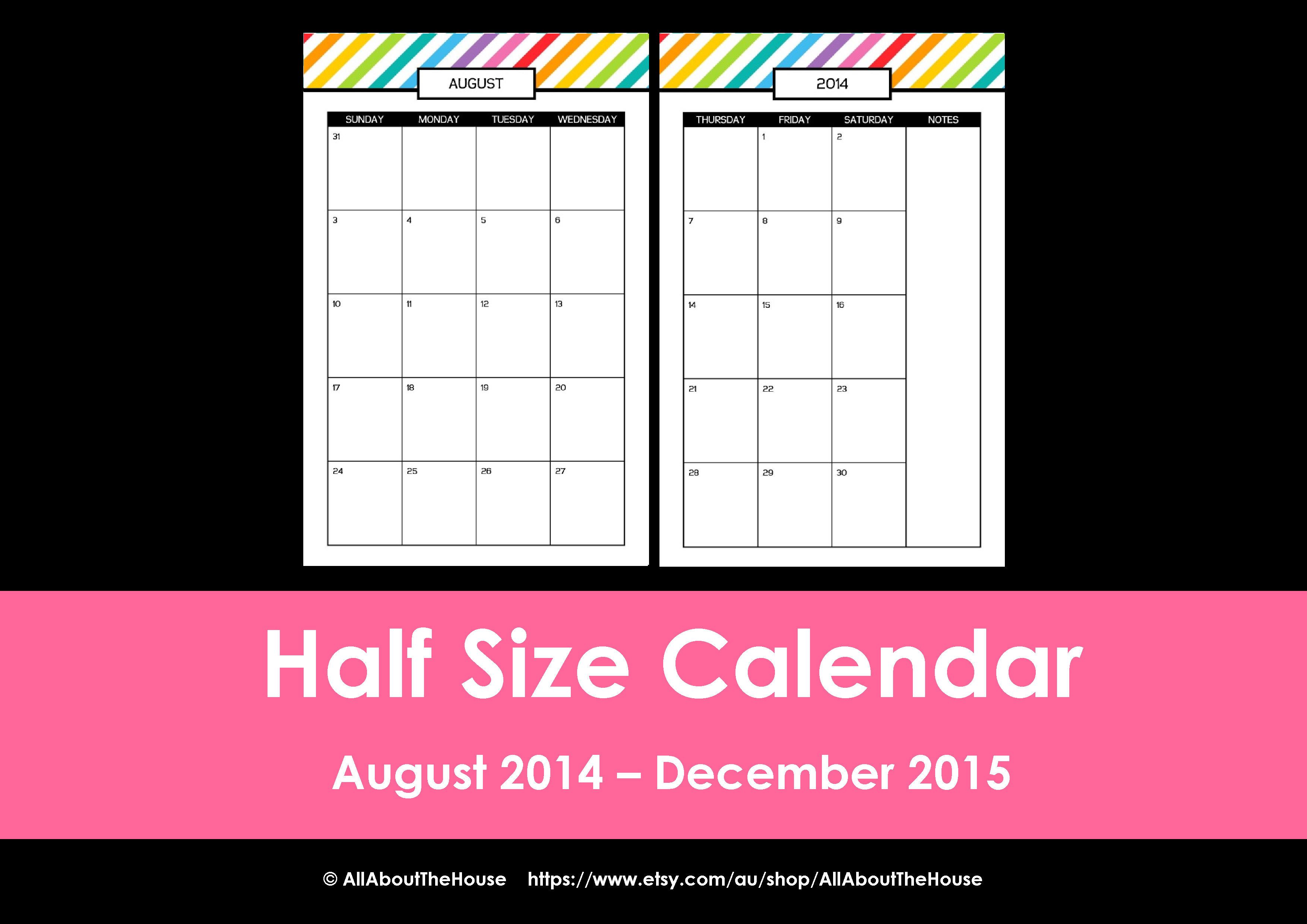 New half size printable planners for 2015 for Room arranger online no download