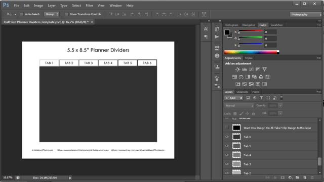 Half Size Planner Tab Arc Junior Custom Printable Divider Cover