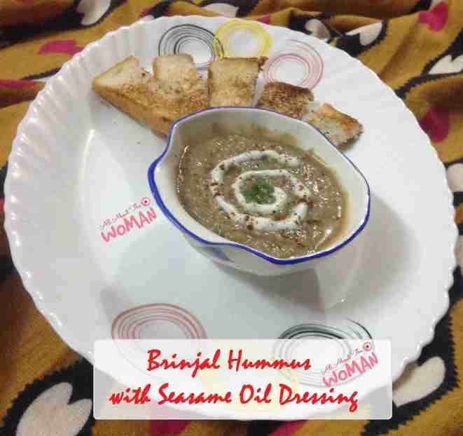 Brinjal Hummus Recipe with sesame oil dressing