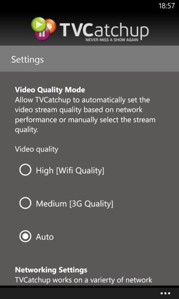 TVCatchup on Windows Phone 8