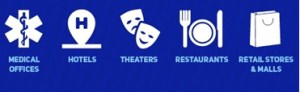 This image depicts symbols (white icons on the blue field) for medical offices, motels/hotels, theaters, restaurants, and retail stores and malls.