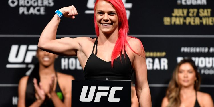 EDMONTON, AB - JULY 26:  Gillian Robertson of Canada poses on the scale during the UFC 240 weigh-in at Rogers Place on July 26, 2019 in Edmonton, Alberta, Canada. (Photo by Jeff Bottari/Zuffa LLC/Zuffa LLC via Getty Images)