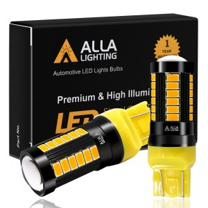 Alla Lighting Super Bright T20 7440 7443 LED Amber Yellow LED Bulbs