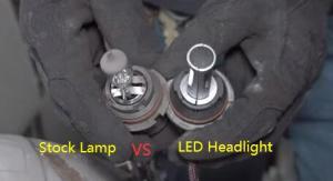 9007 Halogen Headlamp VS Alla Lighting HB5 9007 LED Headlight Conversion Kits Bulbs 3
