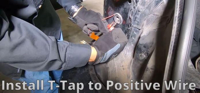 Insert vehicle positive wire into t-tap