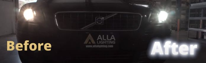 LED bulb and halogen bulb in Volvo S40