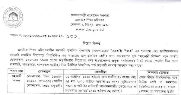 Primary School Assistant Teacher Job Circular in Bangladesh