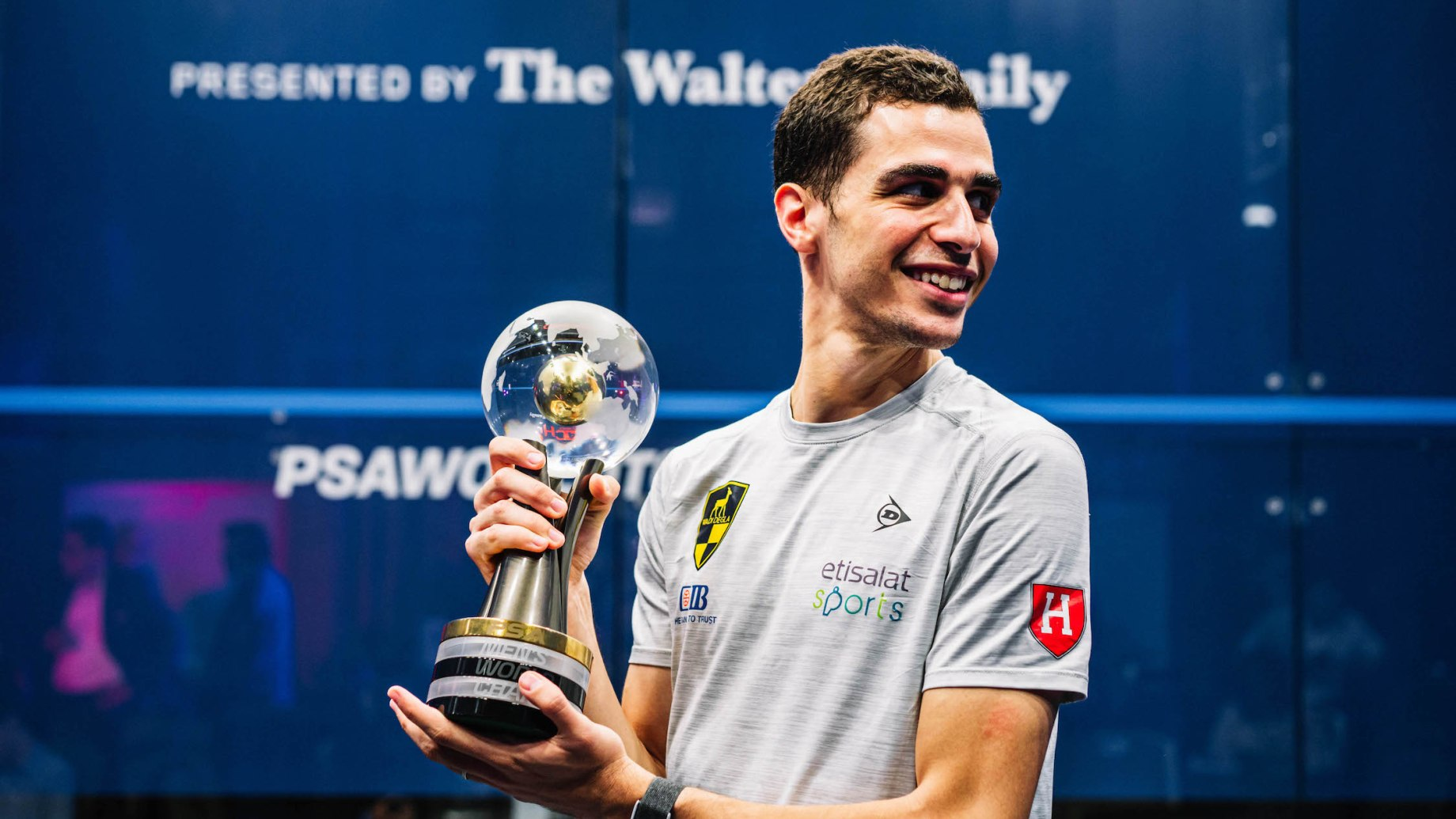 Ali Farag with the 2020-21 PSA World Championships trophy