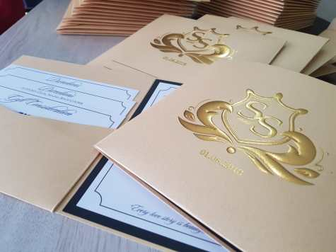 Bespoke stationery -GOLD FOIL AND EMBOSS FINISH ON WEDDING INVITATIONS