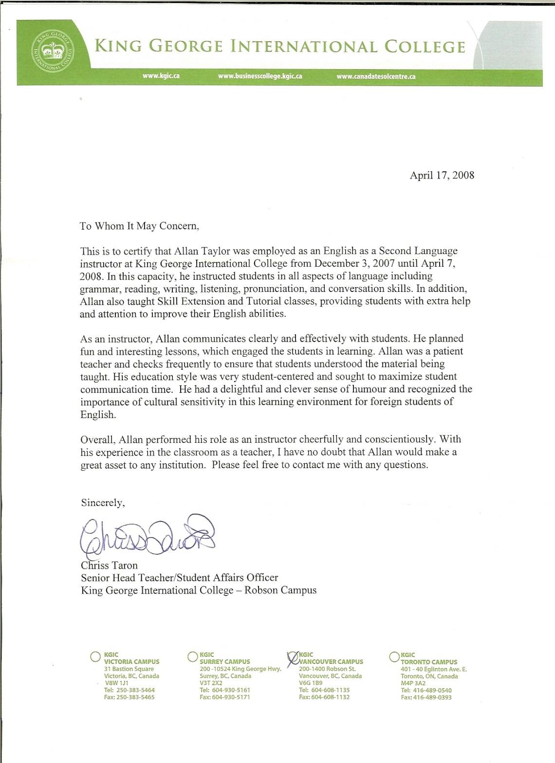 Letters Of Recommendation For Teacher Elitadearest