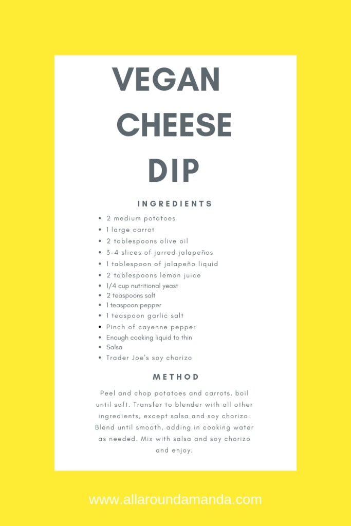 vegan cheese dip recipe card