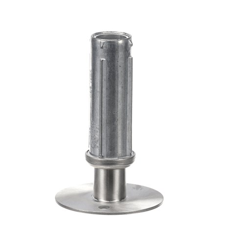 """1-5/8"""" Round Stainless Steel Clad Zinc Die Cast 3"""" Adjustable Hi-Rise Flanged Foot Insert With Mounting Holes"""