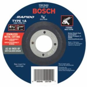 """114-TCW1S450 Thin Cutting/Rapido Type 1A (ISO 41) Wheel, 4 1/2"""", 7/8"""" Arbor, AS60INOX-BF Grit"""