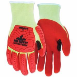 "127-UT1953L UT1953 UltraTechâ""¢ A4/Impact Level 1 Mechani Knit Glove, Large, Hi-Viz Lime; Red"