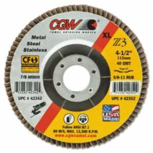 """421-42362 Premium Z3 XL T29 Flap Disc, 4 1/2"""", 40 Grit, 7/8 Arbor, 13,300 rpm"""