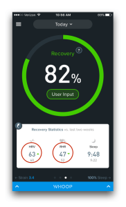 HRV and resting heart rate reading on WHOOP app