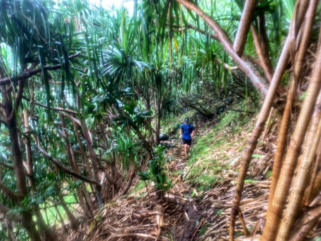 Joe running while Raining in sheet on Napali Coast Trail
