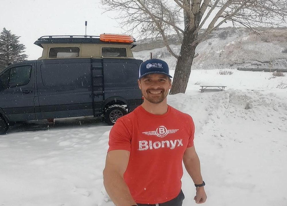 Joe Bauer talking about beginner fitness habits in the snowy Steamboat Springs