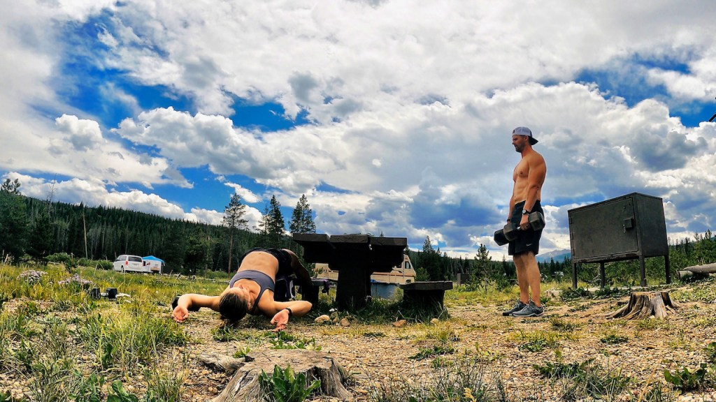 Emily and Joe working out at the Fraser campsite