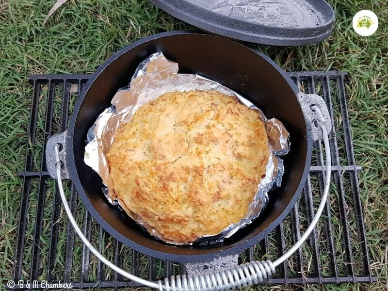 Cheese and Bacon Camp Oven Damper