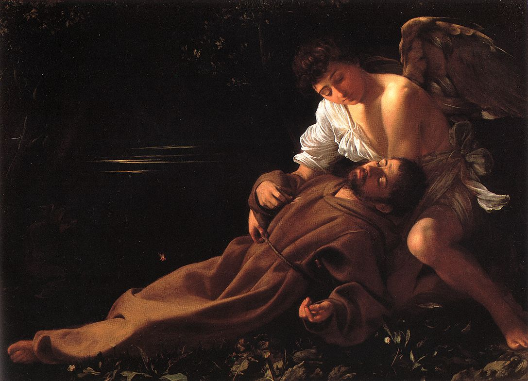Michelangelo Merisi da Caravaggio, (1571 – 1610)  Saint Francis of Assisi in Ecstasy  Oil on canvas, 	c.1595  92,5 cm × 127,8 cm  Wadsworth Atheneum, Hartford, Connecticut, United States