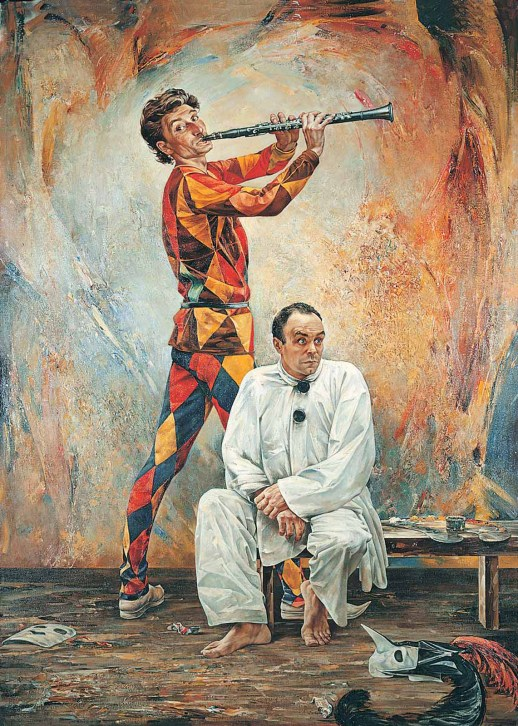 Vasily Igorevich Nesterenko (1967, Russia, Pavlograd) Pierrot and Harlequin Oil on canvas, 1995 235 x 170 cm