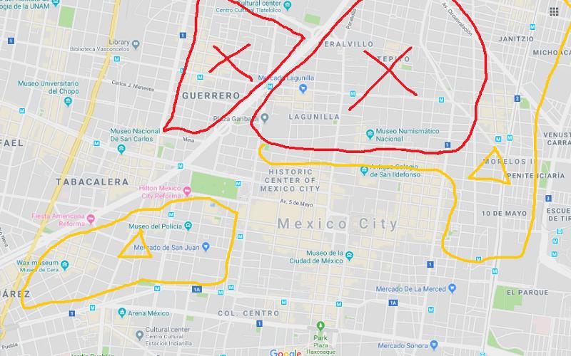 メキシコシティの治安の悪いエリア(泊まるべきでない)