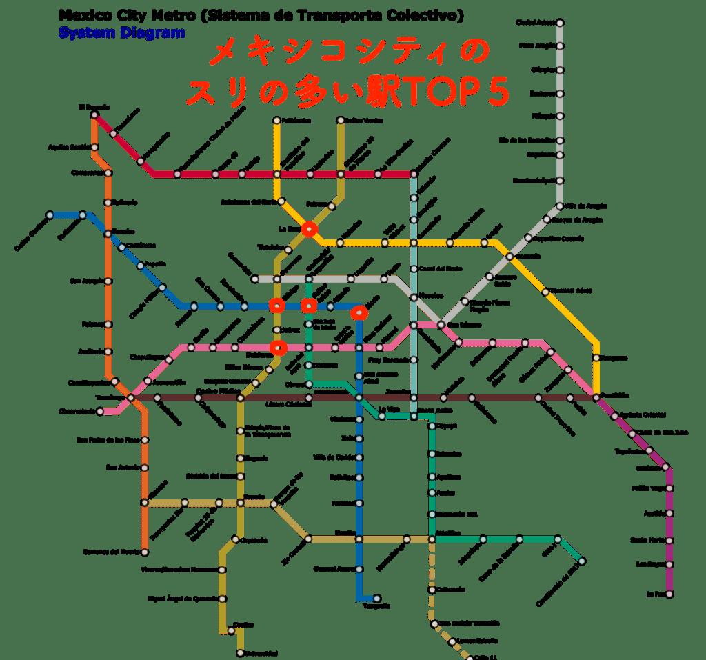 スリが多い駅(メキシコシティ)