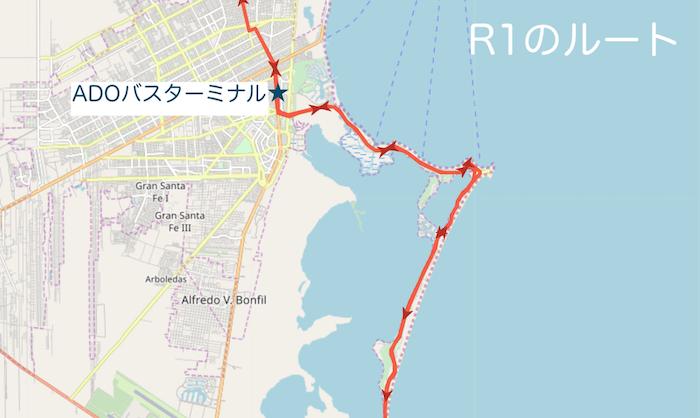 カンクンのバスR1のルート