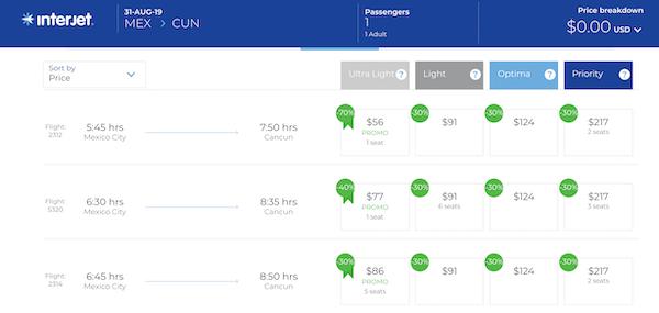 Interjetの値段表