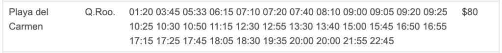 トゥルムからプラヤデルカルメンのバスの値段と時刻表