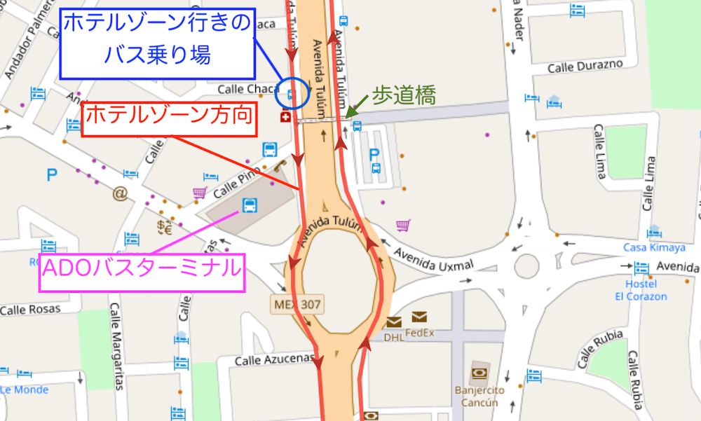 ダウンタウンからホテルゾーン行きのR1バス乗り場