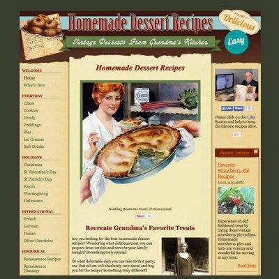 Custom website design for vintage dessert recipes