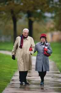 Elderly Couple Walking In The Rain