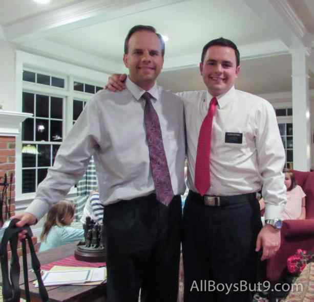 Dad and son just before son is released from his mission.