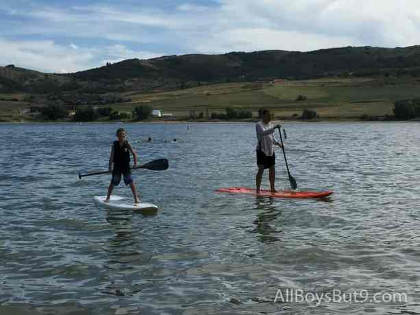 Mike and our nephew enjoy the paddle boards!
