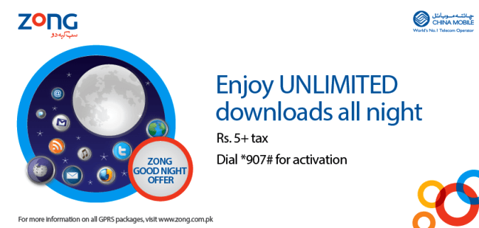 Zong 4G Good Night Unlimited Internet Offer