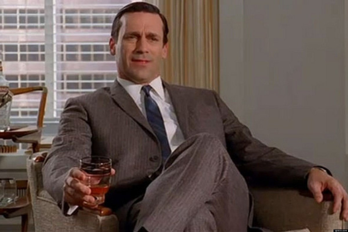 Don Draper Drinking At Work