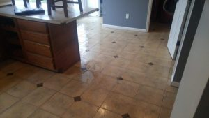The results after pre spraying Tile and deep scrub then rinsing it
