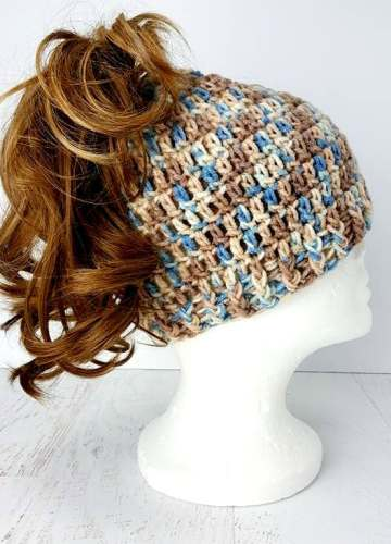 Easy To Crochet Messy Bun Hat Fun And Easy All Crafts Channel