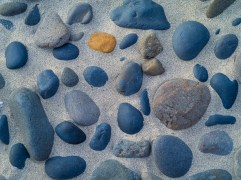 A lone warm-toned rock contrasts with a pattern of blue beach stones
