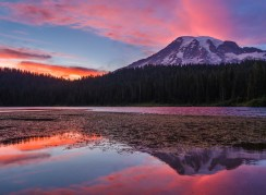 A summer sunset casts spectacular light on clouds above Mount Rainier at Reflection Lake