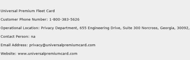 universal premium fleet card customer service phone number contact - Universal Premium Fleet Card
