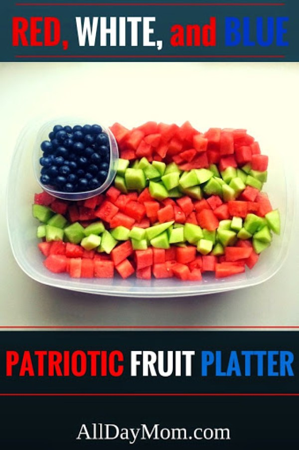 Make this cheap and easy red, white, and blue USA flag fruit platter at All Day Mom