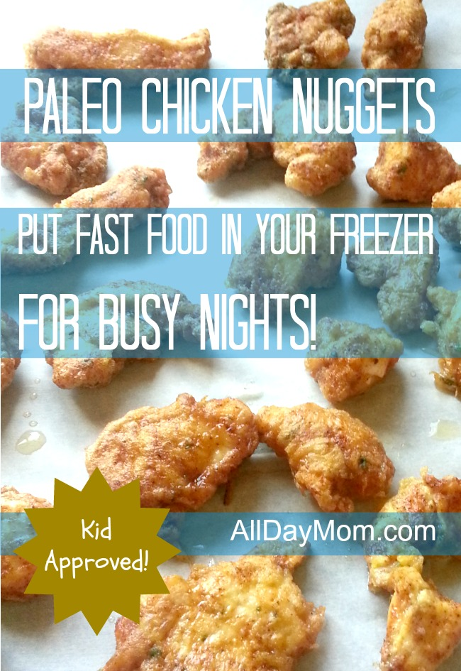 These Paleo chicken nuggets are kid approved -- they taste exactly like regular chicken nuggets! Make this freezer-friendly recipe so you can eat fast on busy nights and skip the drive thru!