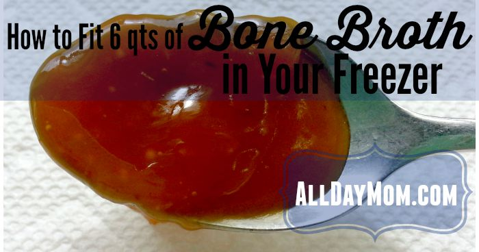 Fit a crockpot full of bone broth in your freezer with this easy trick at All Day Mom! How to Fit Bone Broth in Your Freezer!